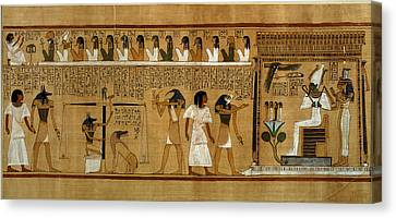 The Weighing Of The Heart Against Maats Feather Of Truth, From The Book Of The Dead Of The Royal Canvas Print by Egyptian 19th Dynasty