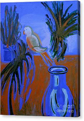 The White Parakeet Canvas Print by Genevieve Esson