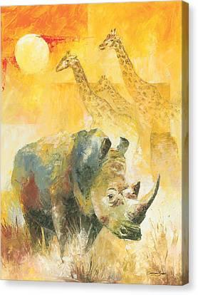 The White Rhino Canvas Print by Christiaan Bekker