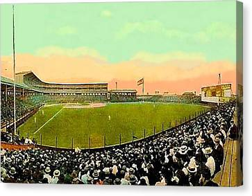 The White Sox Southside Baseball Park In Chicago Il In 1913 Canvas Print by Dwight Goss