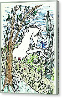The White Stallion Is Chatting With His Friends Canvas Print by Patricia Keller