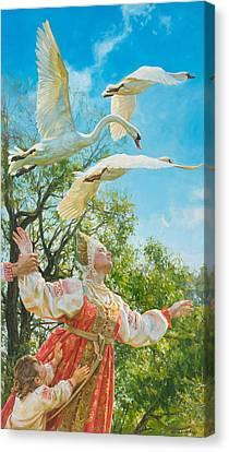 The White Swan Canvas Print by Victoria Kharchenko
