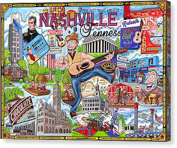 The Who What And Where Of Nashville Tennessee Canvas Print by Shawn Doughty