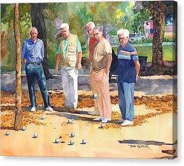 Petanque Canvas Print featuring the painting The Winning Ball by John Ressler