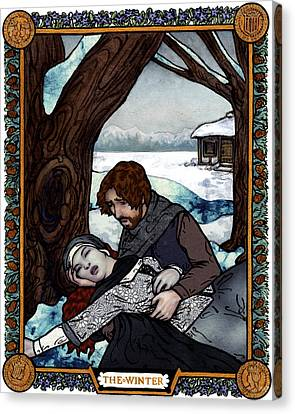 The Winter Bookplate Canvas Print by A Ka