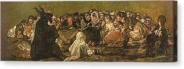The Witches Sabbath Or The Great He-goat, One Of The Black Paintings, C.1821-23 Oil On Canvas Canvas Print by Francisco Jose de Goya y Lucientes