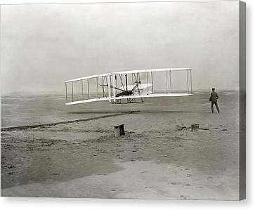 The Wright Brothers' First Powered Canvas Print by Science Photo Library