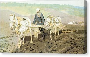 The Writer Lev Nikolaevich Tolstoy Canvas Print by Ilya Efimovich Repin