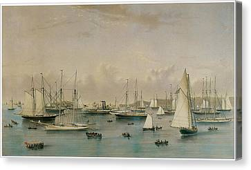 The Yacht Squadron At Newport Canvas Print by Nathaniel Currier and James Merritt Ives
