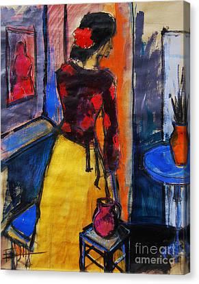 The Yellow Skirt - Pia #9 - Figure Series Canvas Print by Mona Edulesco