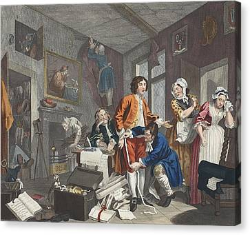 The Young Heir Takes Possession Canvas Print by William Hogarth