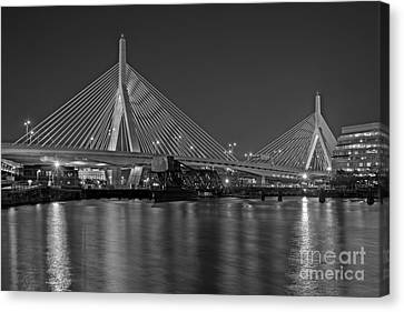 The Zakim Bridge Bw Canvas Print by Susan Candelario