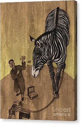 The Zebra Canvas Print by Dirk Dzimirsky