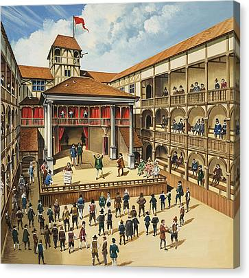 Theatre With Performance Of Hamlet Gouache On Paper Canvas Print by English School