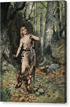 Then In Silence A Bird Sang To Him Canvas Print by Ferdinand Leeke