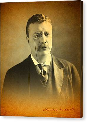 Theodore Teddy Roosevelt Portrait And Signature Canvas Print by Design Turnpike