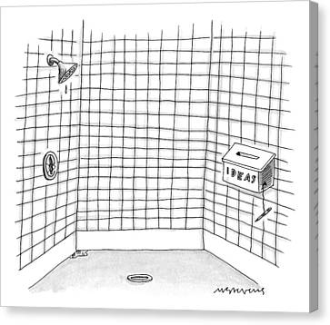 There Is An Idea Box In The Shower Canvas Print by Mick Stevens