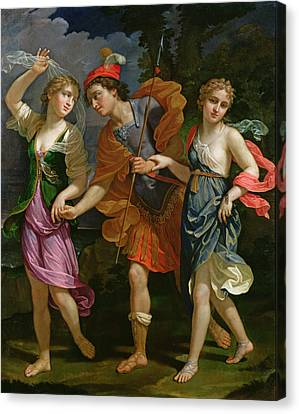 Theseus With Ariadne And Phaedra, The Daughters Of King Minos, 1702 Canvas Print by Benedetto the Younger Gennari