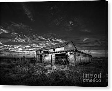 This Old Barn-b/w Canvas Print by Marvin Spates