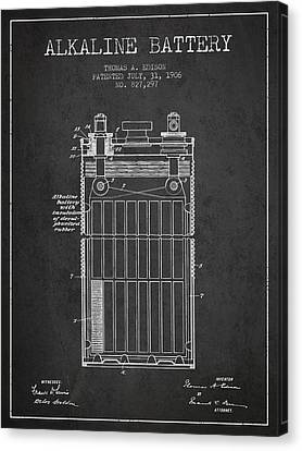 Thomas Edison Alkaline Battery From 1906 - Charcoal Canvas Print by Aged Pixel