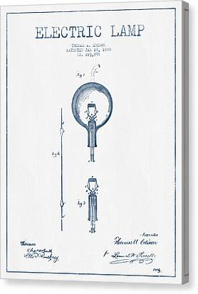 Thomas Edison Electric Lamp Patent From 1880 - Blue Ink Canvas Print by Aged Pixel