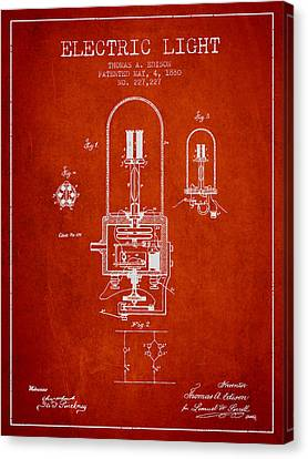 Thomas Edison Electric Light Patent From 1880 - Red Canvas Print by Aged Pixel