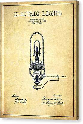 Thomas Edison Electric Lights Patent From 1880 - Vintage Canvas Print by Aged Pixel