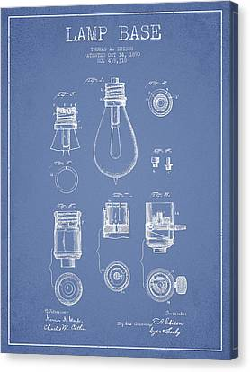 Thomas Edison Lamp Base Patent From 1890 - Light Blue Canvas Print by Aged Pixel
