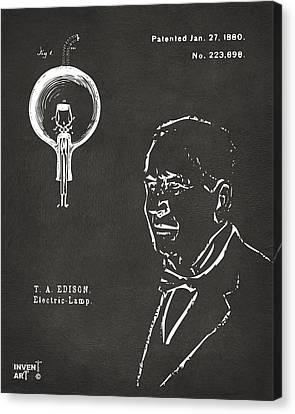 Thomas Edison Lightbulb Patent Artwork Gray Canvas Print by Nikki Marie Smith