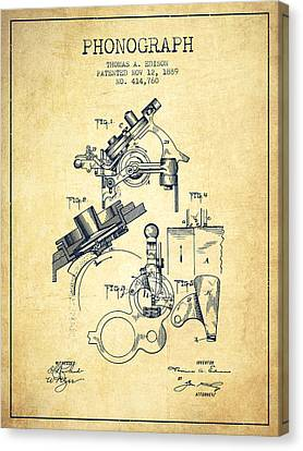 Thomas Edison Phonograph Patent From 1889 - Vintage Canvas Print by Aged Pixel