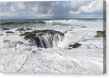Thors Well, Surge Hole On Pacific Coast Canvas Print by John Shaw