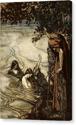 Though Gaily Ye May Laugh, In Grief Ye Canvas Print by Arthur Rackham