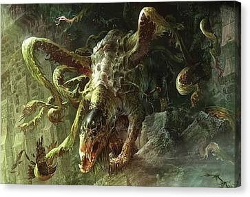 Thrashing Mossdog Canvas Print by Ryan Barger