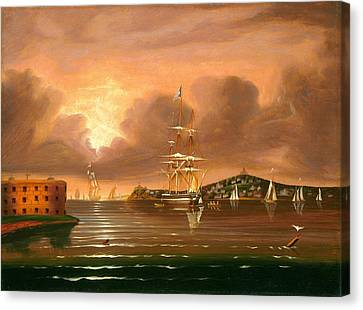 Threatening Sky. Bay Of New York Canvas Print by Thomas Chambers