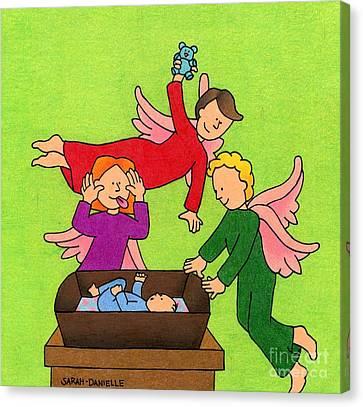 Three Angels And A Baby Canvas Print by Sarah Batalka