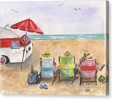 Three Beach Camping Amigos Canvas Print by Sheryl Heatherly Hawkins