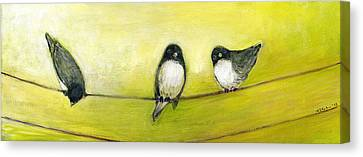Three Birds On A Wire No 2 Canvas Print by Jennifer Lommers
