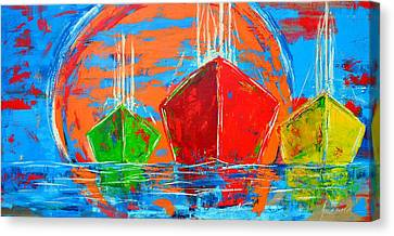 Three Boats Sailing In The Ocean Canvas Print by Patricia Awapara