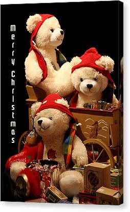 Three Christmas Bears Canvas Print by Linda Phelps