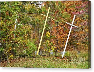 Three Crosses And Cemetery Canvas Print by Thomas R Fletcher