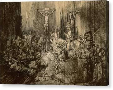Three Crucifixes Canvas Print by Rembrandt Harmenszoon van Rijn