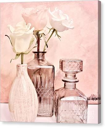 Three Dainty Roses Canvas Print by Marsha Heiken