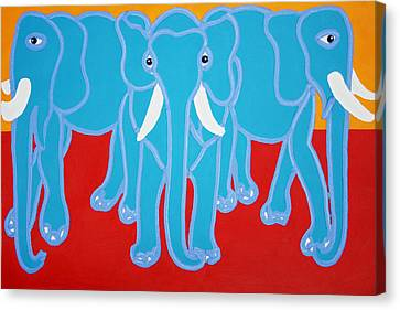 Three Elephants Canvas Print by Matthew Brzostoski