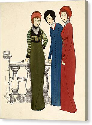 Three Ladies In Dresses Colour Lithograph Canvas Print by Paul Iribe