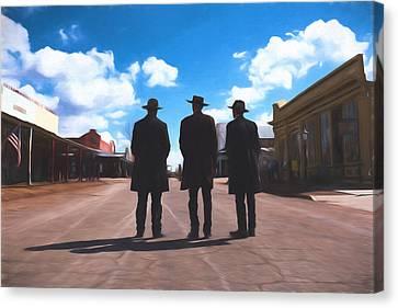 Three Lawmen Canvas Print by Chris Bordeleau