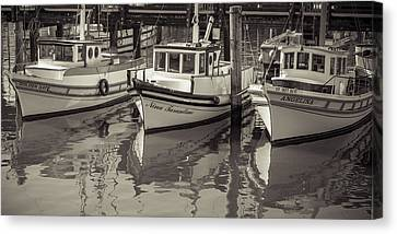 Three Little Boats Sepia Canvas Print by Scott Campbell