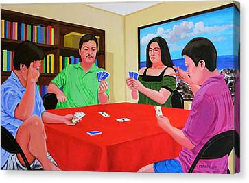 Three Men And A Lady Playing Cards Canvas Print by Cyril Maza