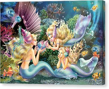 Three Mermaids Canvas Print by Zorina Baldescu