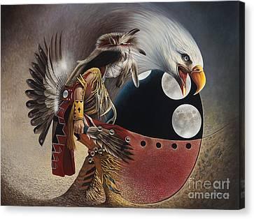 Three Moon Eagle Canvas Print by Ricardo Chavez-Mendez
