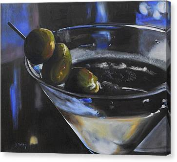 Three Olive Martini Canvas Print by Donna Tuten